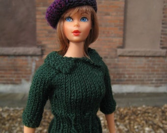 Barbie Doll Knitting Pattern, Sweater with Shirt Collar