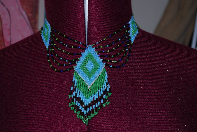 adjustable necklace beaded chocker mint statement artist made unique green old sale vintage lovely blue indian turquoise