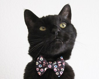 Cat Bow Tie and/or Collar Set - Eye of Newt - Halloween Cat Accessory