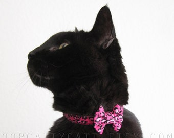 Mini Cat Bow and/or Collar Set - Lovely in Leopard