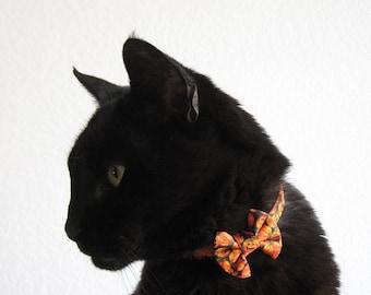 Mini Cat Bow and/or Collar Set - Jack O' Lanterns - Halloween Cat Accessory