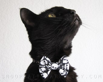 Cat Bow Tie and/or Collar Set - The Boneyard - Halloween Cat Accessory