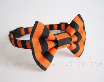 Cat Bow Tie and/or Collar Set - Spoopy Season - Halloween Cat Accessory