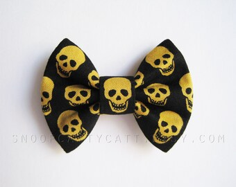 Cat Bow Tie and/or Collar Set - Stay Gold - Halloween Cat Accessory