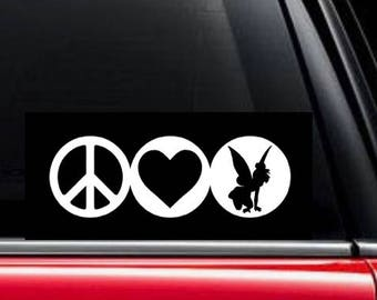 Peace, Love and Tinker Bell decal