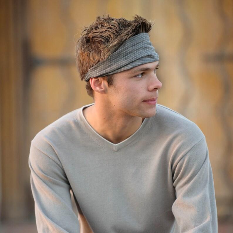 Men s Linen Headwrap Fashion Headband Gray Pinstripe  aa53e581d1d