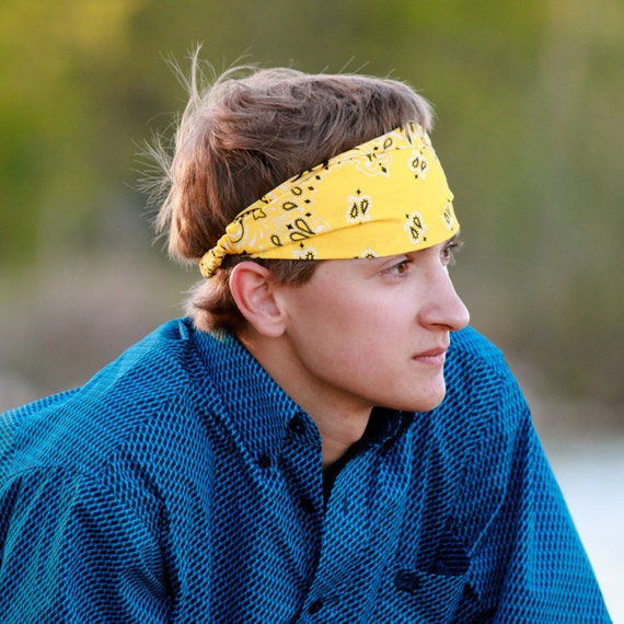 Mens Bandana Headband Yellow Bandanna Head Wrap for Men  1e7859b0038