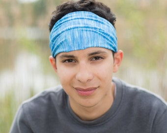 Mens Big Head Headband Blue Ear Warmer Headscarf Exercise Head Wrap Fitness Headwrap Mens Knit Headband (#1113) S