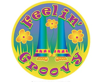 A feel good retro sticker from the hippies at Tin Hat Novelties.