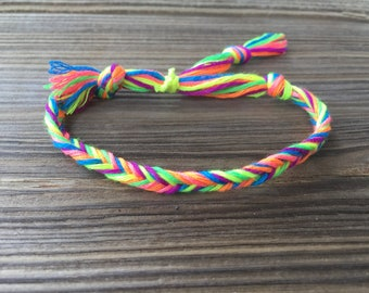 Neon Rainbow Fishtail Braid Friendship Bracelet