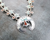 Native American Water Bird Necklace, T A Hannaweeke Sterling Silver Naja Turquoise Coral Inlay, Vintage Zuni Jewelry