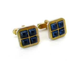 Anniversary Groomsmen Birthday Vintage Fabric Cufflinks Gift For Groom Wedding Tan Blue