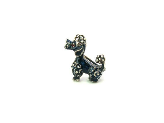 Vintage Alice Caviness Silver Enamel French Poodle Brooch 1960s Germany