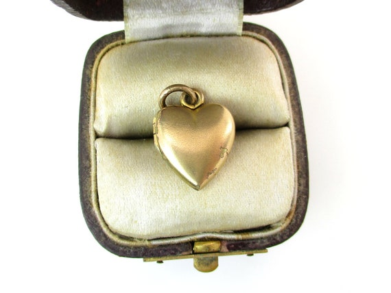 Small Gold Filled Heart Photo Locket Pendant Two Pictures Puffy Charm Vintage Young Girl 1950s Mid Century Love Token Fashion Jewelry