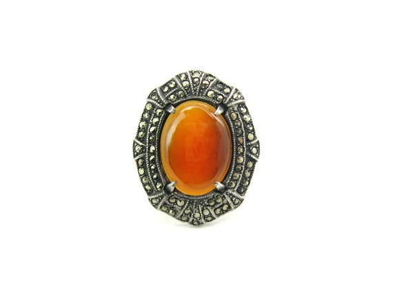 Vintage Art Deco Carnelian Sterling Silver Marcasites Ring. 1930s