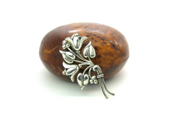 Vintage Nordic Style Bell Flower Brooch. Sterling Craft by Coro, 1940's