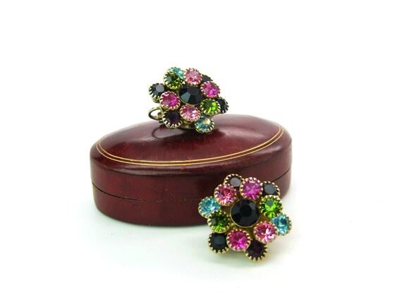 Vintage Jeweled Rhinestone Flower Earrings 1950s Fashion