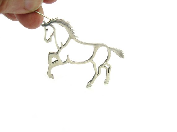 Vintage Belinda Woody Navajo Horse Brooch. Rearing Wild Pony Sterling Silver Outline. 1990s Native American Animal Jewelry
