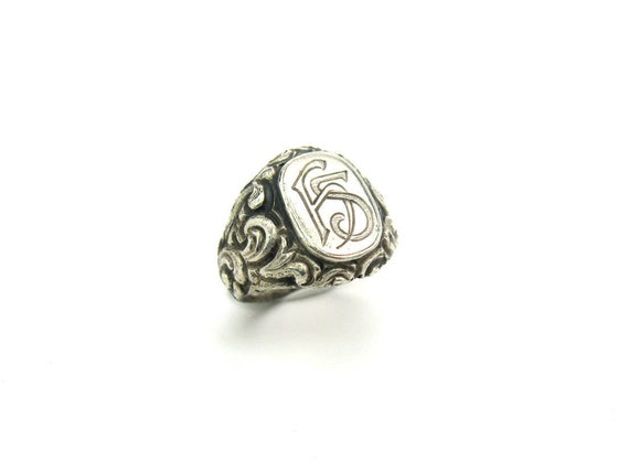 Art Nouveau Signet Ring Ornate Engraved Chased 800 Silver Monogram Initials FS Vintage Personalized 1900s Antique Jewelry Size 10 Unisex