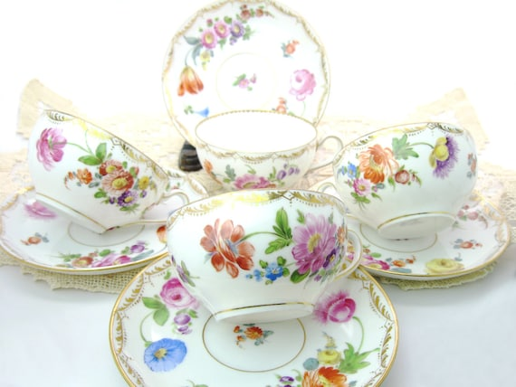 Antique RK Dresden Tea Cup Set Hand Painted Porcelain Richard Klemm Germany Meissen
