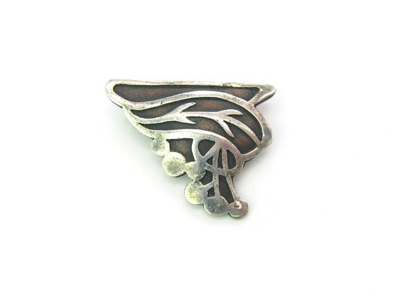 Antique Heintz Art Metal Shop Brooch. Bronze, Sterling Silver. American Arts and Crafts