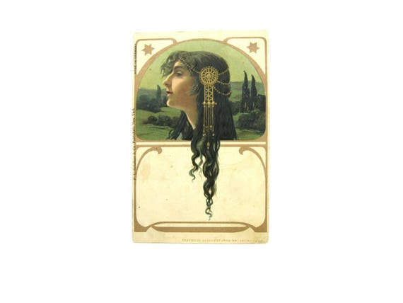 "Antique Jugendstil Art Nouveau Lady Profile Postcard ""Regina"""