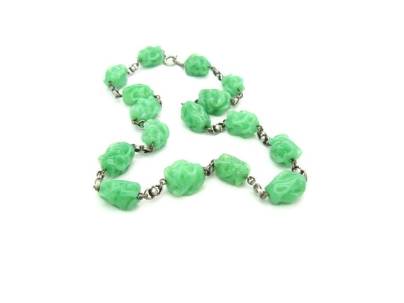 Vintage 1930s Art Deco Jade Glass Bead Necklace. 800 Silver Links. Lampwork Beads. Vintage 1930s Art Deco Beaded Jewelry