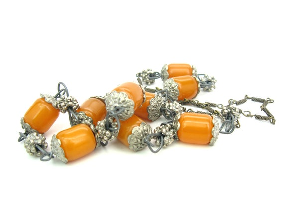 Vintage Tribal Faux Copal Amber Beads Necklace. Ethnic Mixed Metal Links. Boho Style Jewelry