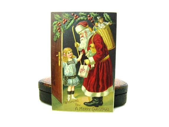 Victorian Old World Santa Claus Christmas Postcard 1910s Antique