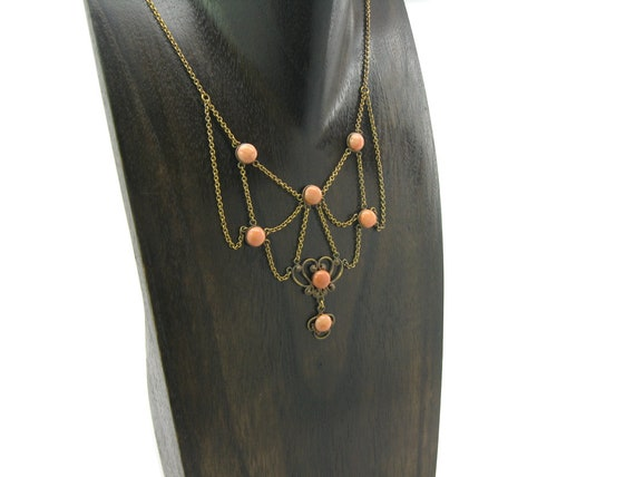 Antique Victorian Coral Necklace 1880's
