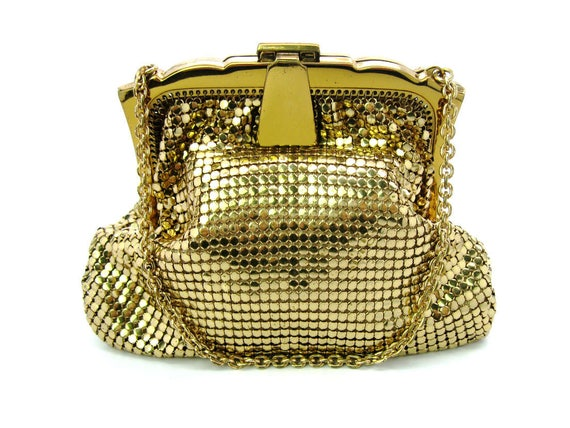 Vintage Whiting & Davis Gold Mesh Evening Bag Made in USA. 1950s