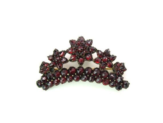 Bohemian Garnet Jewelry Crown Brooch Stars Flowers Curved Antique Victorian Rose Cut Gemstones January Birthstone 1800s European