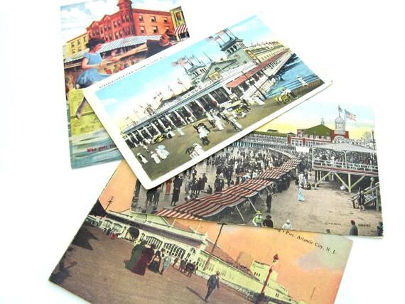 Antique 1910s Atlantic City Beach Postcards Set 3 plus Bonus Card