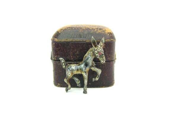 Vintage Enamel Sterling Silver Baby Mule Animal Brooch, Germany