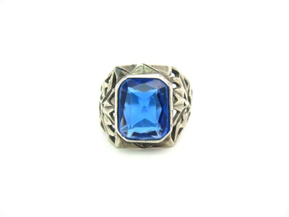 Vintage Handmade Pierced Sterling Silver Blue Stone Ring. Large Octagon Sapphire Color Rustic 1970s Boho Style