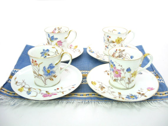 Antique Limoges Bawo Dotter Tea Cups. Set of 4, 3rd Mark Pre Elite 1880s
