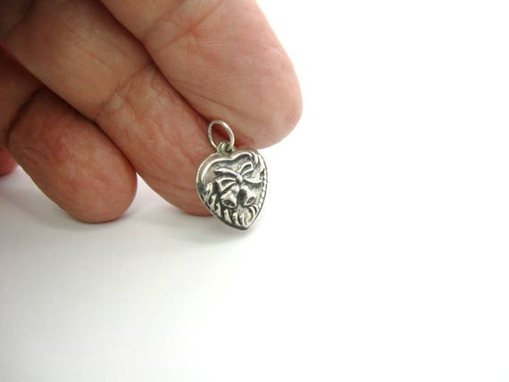 Vintage Sterling Silver Puffy Heart Charm Pendant