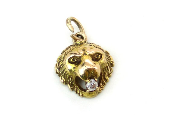 14K Gold Diamond Lion Head Pendant Charm Small Victorian Cat Face Holding Gemstone in Mouth Engraved Antique Late 1800s Art Nouveau Jewelry
