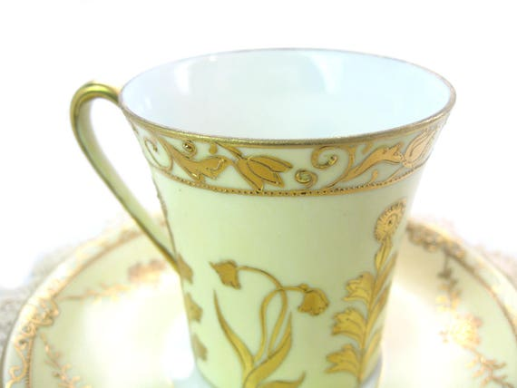 Antique Hand Painted Nippon Demitasse Tea Cup Saucer in Yellow & Gold Floral Decoration