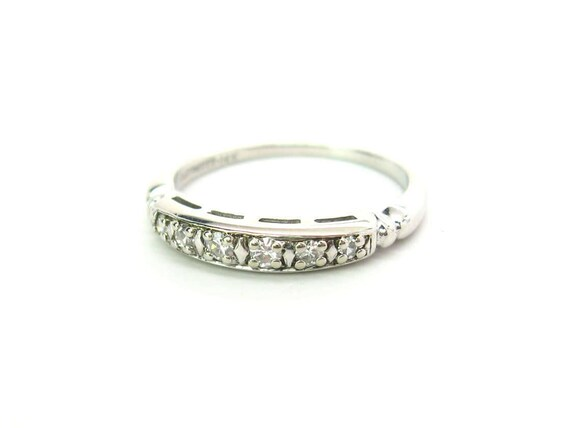 Vintage 14K White Gold Diamond Art Deco Wedding Band Ring