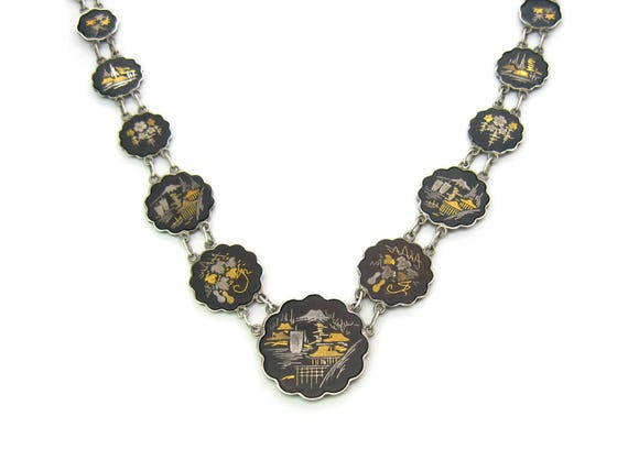 Vintage Japanese 24K Gold Sterling Silver Damascene Inlay Necklace 1950s