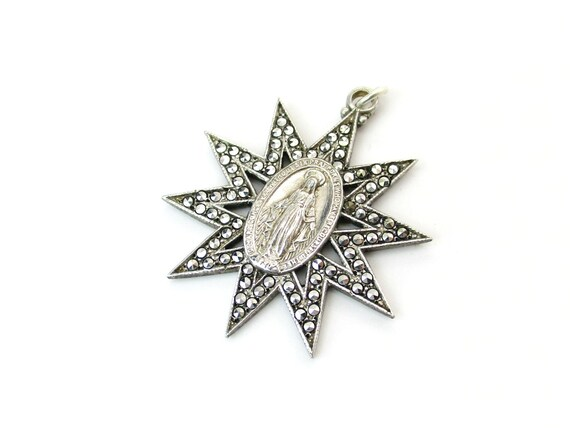 Religious Virgin Mary Pendant 1830 Catholic Sterling Silver Miraculous Medal Radiant Marcasite Cutout Star Vintage 1950s Art Deco Jewelry