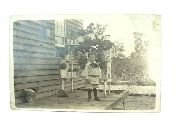 Little Boy Antique Real Photo Postcard. 1910s America Collectible.