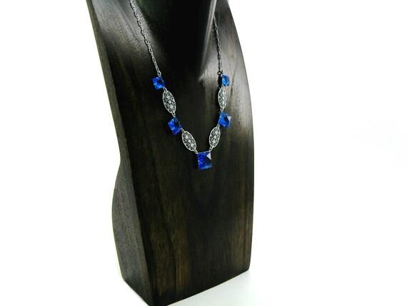 Vintage Czech Art Deco Cobalt Blue Glass & Rhodium Silver Filigree Necklace, 1920s