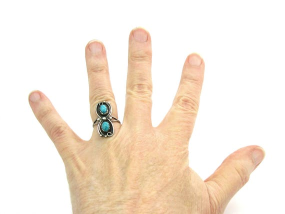 Vintage Navajo Style Double Turquoise Sterling Silver Ring SZ 7.5