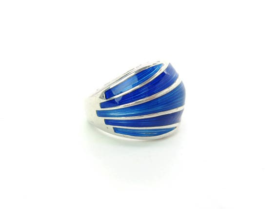 Vintage David Andersen Sterling Silver Blue Guilloche Ring. Mid Century Modern Norwegian Jewelry
