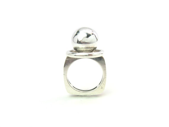 Vintage French Runway Sterling Silver Ball Ring, c. 1970s Mod