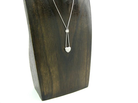 Vintage Cubic Zirconia Sterling Silver Heart Necklace. Pave Puffy Heart Pendant