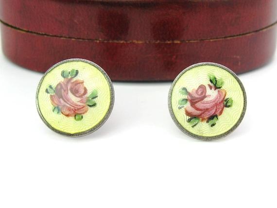 Vintage Sterling Silver Yellow Guilloche Enamel Pink Rose Earrings