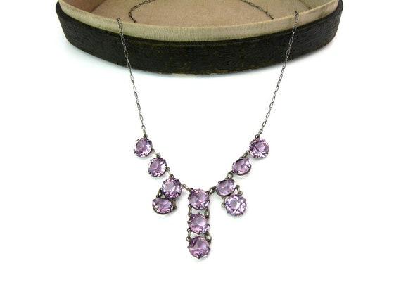 Vintage 1920s Art Deco Sterling Amethyst Crystal Fringe Choker Necklace